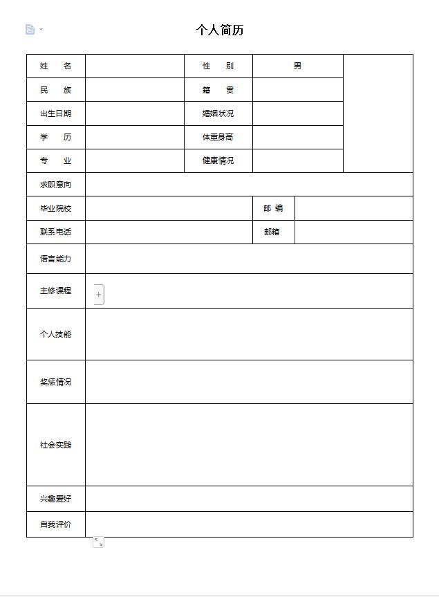 2020标准的空白简历表格