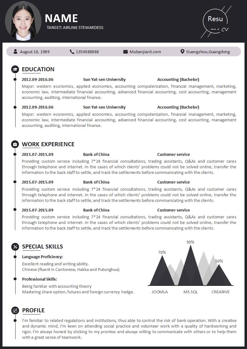 英文resume范文模板下载
