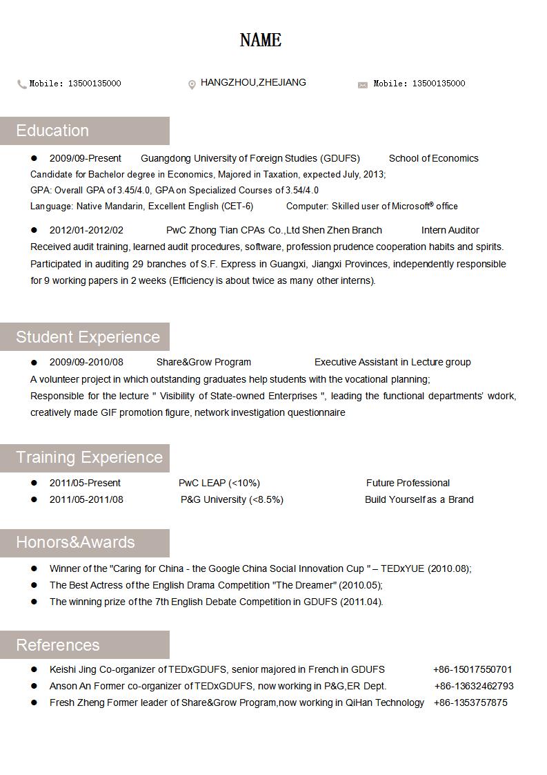 resume英文简历模板下载